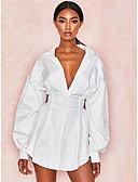 hesapli Romantik Dantel-Kadın's Sokak Şıklığı Gömlek Elbise - Solid Asimetrik
