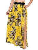 hesapli Kadın Etekleri-Kadın's Tatil Boho Düz Etekler - Çiçekli Püskül / Yüksek bölünmüş / Desen Beyaz Siyah Sarı M L XL