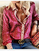 billige Bluse-Dame - Geometrisk Skjorte Lilla