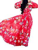 abordables Robes de Fête-Femme Bohème Chic de Rue Maxi Courte Balançoire Robe Fleur Tartan Rouge M L XL Manches Longues