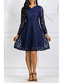 זול תחרה רומטנית-צווארון V עד הברך שמלה גזרת A בגדי ריקוד נשים