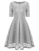 billige Romantiske blonder-Dame Elegant A-linje Kjole - Ensfarget, Blonde Knelang