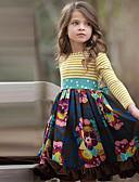 baratos Moletons Para Meninas-Infantil Para Meninas Estilo bonito Floral Manga Longa Altura dos Joelhos Vestido Azul Marinha