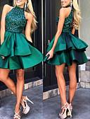 billige Todelte kjoler-A-linje Grime Kort / mini Sateng Formell kveld Kjole med Perlearbeid / Fallende drapering av LAN TING Express