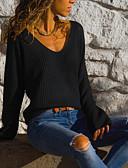 povoljno Ženski jednodijelni kostimi-Žene Jednobojni Dugih rukava Kardigan, V izrez Proljeće / Jesen Crn / Plava / Red S / M / L