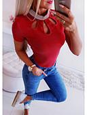 billige T-skjorter til damer-T-skjorte Dame - Ensfarget, Utskjæring Grunnleggende Gul