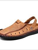 hesapli Erkek Tişörtleri ve Atletleri-Erkek Ayakkabı Deri Yaz Sandaletler Günlük için Siyah / Altın / Haki