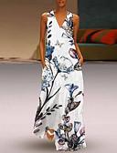 voordelige Maxi-jurken-Dames Standaard Boho A-lijn Wijd uitlopend Jurk - Bloemen, Patchwork Midi