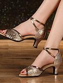 povoljno Maturalne haljine-Žene Plesne cipele Koža Cipele za latino plesove Štikle Debela peta Zlato / Srebro / žutomrk