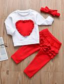 זול סטים של ביגוד לתינוקות-סט של בגדים כותנה שרוול ארוך קפלים / טלאים דפוס / טלאים / חג מולד יום יומי / פעיל בנות תִינוֹק / פעוטות