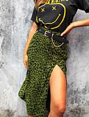 billige Jumpsuits og sparkebukser til damer-Dame Chic & Moderne A-linje Skjørt Leopard Grønn S M L / Delt