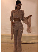 זול סרבלים ואוברולים לנשים-S M L פאייטים אחיד, סרבלים רגל רחבה זהב בגדי ריקוד נשים