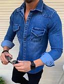 זול חולצות לגברים-אחיד חולצה - בגדי ריקוד גברים שחור / שרוול ארוך