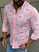 זול חולצות לגברים-פרחוני בסיסי / סגנון רחוב חולצה - בגדי ריקוד גברים טלאים / דפוס ורוד מסמיק