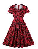 povoljno Vintage kraljica-Žene Osnovni Swing kroj Haljina Jednobojni Midi
