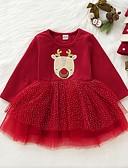 お買い得  赤ちゃん ドレス-赤ちゃん 女の子 ベーシック プリント / クリスマス 長袖 ドレス ルビーレッド / 幼児