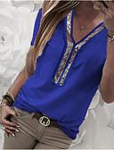 halpa Naisten jumpsuitit ja housuasut-Naisten V kaula-aukko Paljetti / Sifonki / Glitter Color Block Pluskoko - T-paita Fuksia / Kevät / Kesä / Syksy