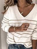 お買い得  レディースセーター-女性用 ストライプ 長袖 プルオーバー, Vネック ホワイト / ルビーレッド S / M / L