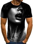 זול טישרטים לגופיות לגברים-קולור בלוק / 3D / דיוקן רוק / סגנון רחוב טישרט - בגדי ריקוד גברים דפוס שחור