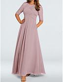 povoljno Večernje haljine-A-kroj Ovalni izrez Do poda Šifon / Čipka Formalna večer Haljina s Falte po LAN TING Express