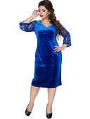 זול שמלות במידות גדולות-מידי קולור בלוק - שמלה נדן בגדי ריקוד נשים