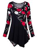 billige Todelt dress til damer-T-skjorte Dame - Blomstret Svart