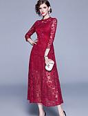 hesapli Romantik Dantel-Kadın's Temel Zarif A Şekilli Kılıf Elbise - Solid, Dantel Bölünmüş Kırk Yama Midi