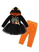 זול סטים של ביגוד לתינוקות-סט של בגדים שרוול ארוך דפוס / חג ליל כל הקדושים בסיסי בנות תִינוֹק / פעוטות