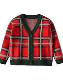 povoljno Džemperi i kardigani za dječake-Djeca Dijete koje je tek prohodalo Dječaci Aktivan Osnovni Karirani uzorak Print Dugih rukava Džemper i kardigan Crn