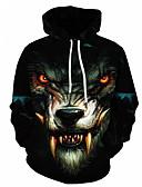 זול טרנינגים וקפוצ'ונים לגברים-עם קפוצ'ון 3D / חיה Jacket hoodie משוחרר בסיסי בגדי ריקוד גברים