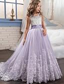 זול שמלות לילדות פרחים-שמלה מקסי ללא שרוולים טלאים Party / חגים פעיל / מתוק בנות ילדים