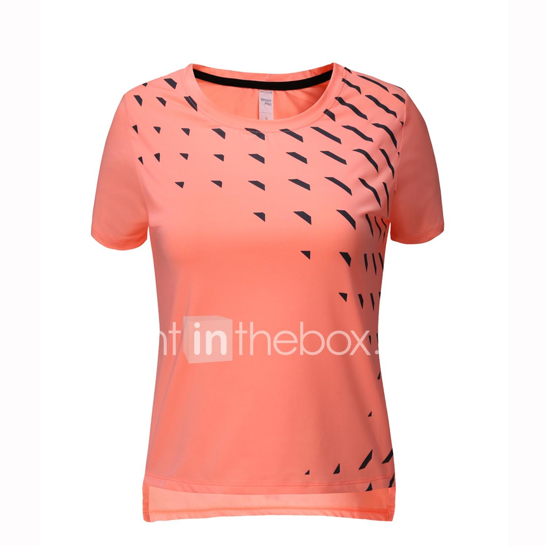 BARBOK Mujer Negro Naranja Morado Deportes Un Color Elastán Camiseta Top  Manga Corta Ropa de Deporte 3b9c24e4ef28