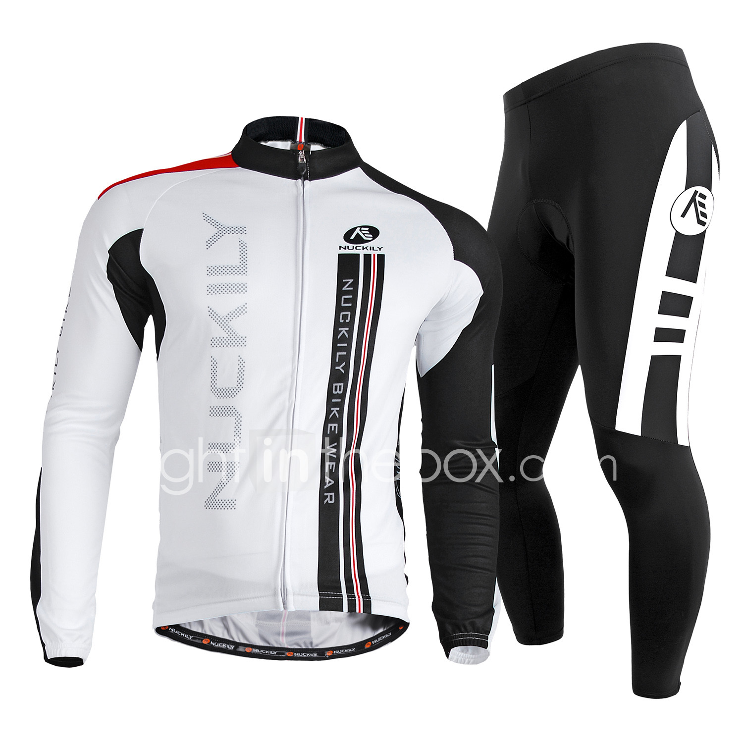 Nuckily Men s Long Sleeve Cycling Jersey with Tights - White Bike Clothing  Suit c70592e35