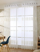 Cheap Sheer Curtains Sheer Curtains Shades Living Room Floral Contemporary  Cotton / Polyester Jacquard