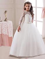 abd3ccf4d5 olcso Elsőáldozó ruhák-Hercegnő Hosszú hossz Virágoslány ruha - Csipke /  Tüll Hosszú ujj Ékszer