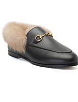 preiswerte Damen Hausschuhe-Damen Nappaleder Winter Loafers  amp  Slip-Ons  Flacher Absatz Schwarz f4af35c7a5
