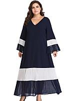 Χαμηλού Κόστους Φορέματα Μεγάλα Μεγέθη-γυναικεία καθημερινή midi λεπτή  φόρμα μετακίνησης v λαιμό μπλε μπλε 62da883d667