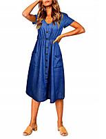 6ccdce20718b Χαμηλού Κόστους Γυναικεία Φορέματα-Γυναικεία Βασικό Γραμμή Α Φόρεμα -  Μονόχρωμο Μίντι Λαιμόκοψη V