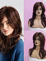 voordelige -Human Hair Capless Pruiken Echt haar Gekruld / Losse krul Gelaagd kapsel / Asymmetrisch kapsel Stijl Modieus Design / Verstelbaar / Hittebestendig Donkerbruin Lang Zonder kap Pruik Dames