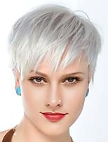 voordelige -Human Hair Capless Pruiken Echt haar Recht / Natuurlijk recht Gelaagd kapsel Stijl Beste kwaliteit / nieuw / Comfortabel Zilver Kort Zonder kap Pruik Dames / Allemaal / Afro-Amerikaanse pruik