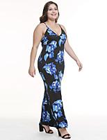 Χαμηλού Κόστους -Γυναικεία Βασικό Κομψό Εφαρμοστό Θήκη Φόρεμα - Γεωμετρικό, Στάμπα Μίντι