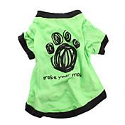 犬用 コットン Tシャツ ペットウェア(グリーン)