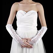刺繍エレガントなスタイルとサテンの肘の長さの手袋の花嫁の手袋