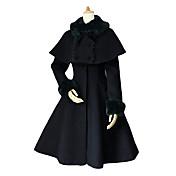 コート ゴスロリータ 貴族ロリータ ロリータ コスプレ ロリータドレス ブラック ホワイト ブルー ソリッド 長袖 コート ために ベルベット