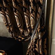 Corredizo Anillo Lazo de tela Doble plisado Dos Paneles Ventana Tratamiento Europeo Neoclasicismo , Jacquard Poliéster Material cortinas