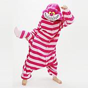 Pijamas Kigurumi gato de Cheshire Pijamas de una pieza Disfraz Vellón de Coral Rojo Cosplay por Adulto Ropa de Noche de los Animales