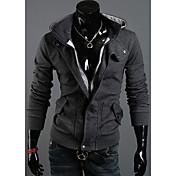 DJJMメンズファッション新繊細なフード付きフリースレジャー綿ネルフリースコート(ダークグレー)