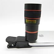 teleobjetivo universal de 8x con el clip para el teléfono móvil iphone samsung htc rojo teléfono inteligente + negro