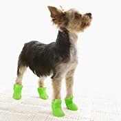 Gato Perro Zapatos y Botas Suela antideslizante Jelly Shoes A Prueba de Agua Sólido Negro Morado Amarillo Azul Rosa Para mascotas