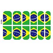 ブラジルのサッカーファンのための12のPCS 3Dフルフィンガーネイルのヒントステッカー
